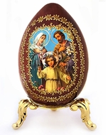 The Holy Family, Wood Icon Egg with  Stand