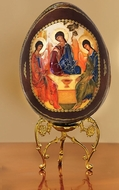 The Holy Trinity, Wooden Icon Egg with Stand