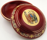The Holy Trinity, Ceramic Keepsake Jewelry Rosary  Icon  Case, Red