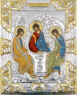 The Holy Trinity (Old Testament Trinity),  Serigraph Icon in Silver, Gold Plated Oklad