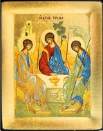 The Holy Trinity, Serigraph Orthodox Icon with Stand