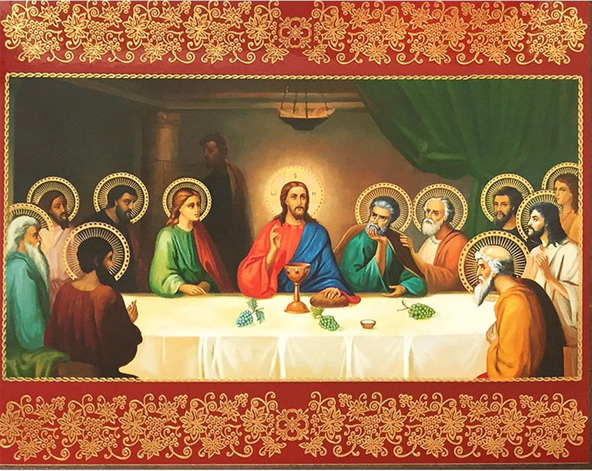 the last supper 20th century style orthodox icon at holy trinity