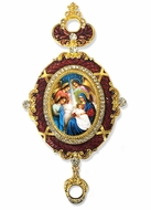 The Nativity, Enameled Jeweled Icon Ornament, Red