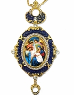 The Nativity, Enameled Jeweled Icon Ornament, Blue