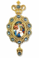 The Nativity,   Enameled Jeweled Icon Ornament / Blue Crystals
