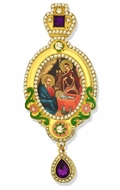 The Nativity,  Jeweled Icon Ornament, Yellow Frame & Purple Crystals