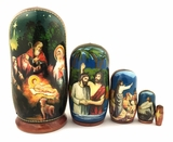 Nativity of Christ,  5 Nesting Icon Doll, 4 1/4""