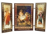 The Nativity of Christ / Archangels Michael and Gabriel, Mini Triptych