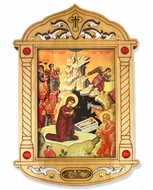 The Nativity of Christ Icon in Wooden Shrine