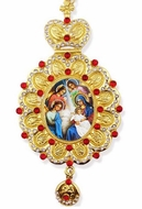 Nativity of Christ. Jeweled  Framed Icon Ornament with Chain