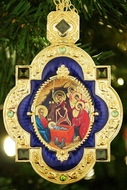 The Nativity of Christ. Jeweled  Framed Icon Pendant Ornament with Chain