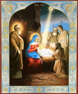 The Nativity of Christ, Orthodox Christian Gold & Silver Foiled Icon