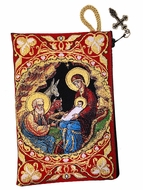 The Nativity, Rosary Pouch Case, Red/Gold