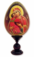 Virgin of Vladimir, Wooden Icon Egg with Stand