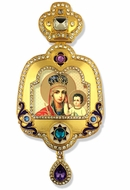 Theotokos and Child, Enameled Framed Icon Ornament