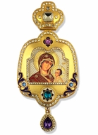 Virgin of Smolensk, Enameled Framed Icon Ornament