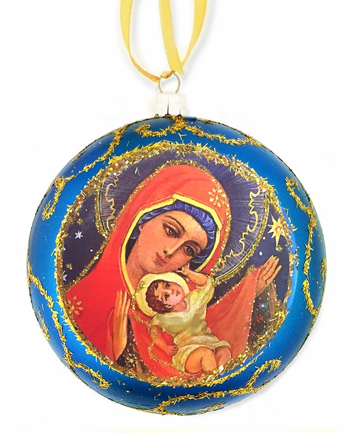 Blessed Virgin Mary, Religious Christmas Ornament, Blue
