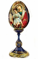 Theotokos Icon on Wooden Egg with Stand, Hand Painted