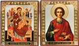 "Theotokos ""Queen of All"" and St Panteleimon, Diptych"