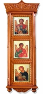 Three Archangel Icons in Wooden Shrine with Glass