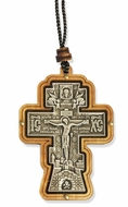 Three Bar Wooden Cross with Crucifix on Rope