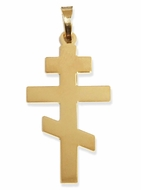 Three Barred Plain Orthodox Cross,  14KT Gold , 1""