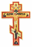 Three Barred Decoupage Wooden Cross with Corpus Crucifix