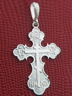 "Three Barred Orthodox Cross ""NIKA"", Sterling Silver 925, 1 1/16"""