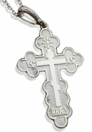 "Three Barred Orthodox Cross ""NIKA"", Sterling Silver 925, 1 1/2"""