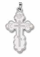 White Gold 14KT Three Barred Orthodox Cross
