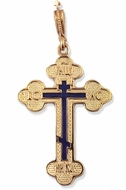 Three Barred Reversible Gold Cross, Blue Enameled