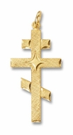Three Barred Sterling Silver 24kt Gold Plated Cross