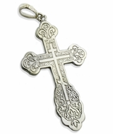 Three Barred Sterling Silver  Engraved  Orthodox Cross, Large