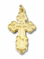 Three Barred Traditional  Orthodox Cross, Sterling Silver,  24kt Gold Plated