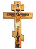 Three Barred Wooden Cross with Corpus Crucifix