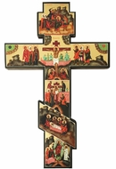 Three Barred Wooden Wall Cross with Hand Painted Icons
