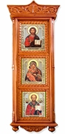 Three Matching Icons in Wooden Shrine with Glass