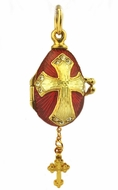 Tiny Egg Pendant Locked with Cross, Silver, Gold Plated