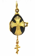 Tiny Egg Pendant Locked w/Three Bar Cross, Silver, Gold Plated