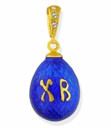 "Tiny Egg Pendant with XB ""Christ is Risen"", Silver 925, Gold Plated"