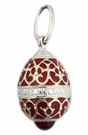 Tiny Enameled Egg Pendant , Sterling Silver, Red