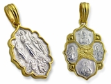 Transfiguration, Saints, Guardian Angel.  Sterling Silver, Gold Plated Reversible Pendant