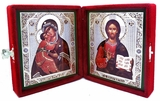 Virgin of Vladimir & Christ The Teacher,  Icon Diptych in Velvet Case