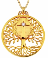 """Tree of Life"" Pendant and Holy Cross,  Silver 925, Gold Plated"