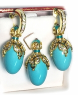 Turquoise Set of Earrings with Egg Pendant,  Silver, Gold Plated