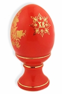 Two Sided Porcelain Easter Egg,  Red