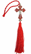 Two Tone Metal Cross with Corpus Crucifix and Red Tassel