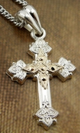 Two Tone Sterling Silver Cross  with 14kt Gold Accent  Centerpiece