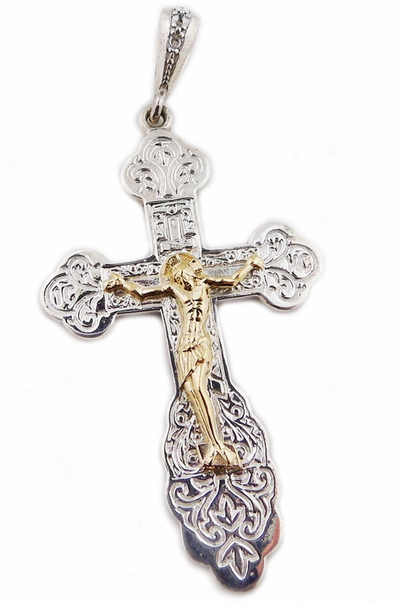 0bf07ee35b60 Two Tone Sterling Silver Cross with 14kt Gold Corpus Crucifix