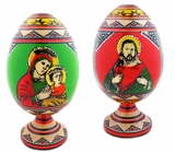 Ukrainian 2 Sided Wooden Egg, Virgin Mary and Christ